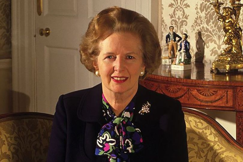 Facts about Margaret Thatcher: Margaret Thatcher sat in a seat in her apartment at 10 Downing Street posing for a photo