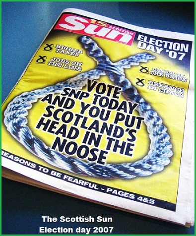 The Sun, May 2007 - Vote SNP today and you put Scotland's head in the noose