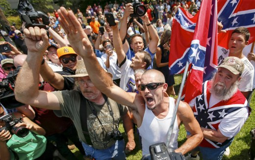 Trump supporters with the confederate flag. | Getty