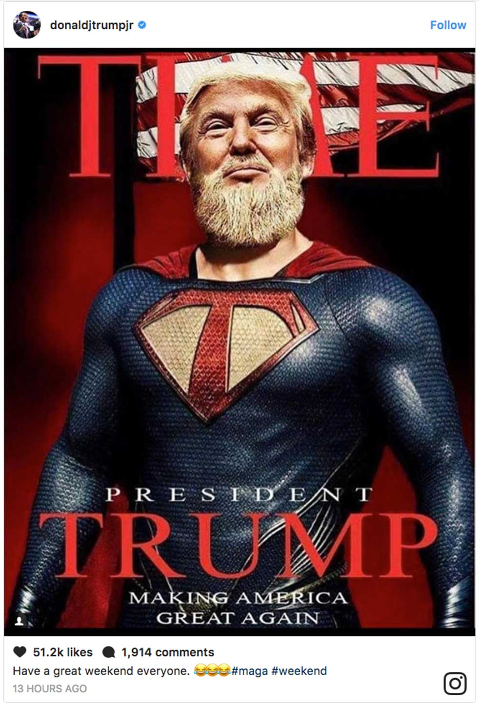 Donald Trump Jr Just Shared a Fake Time Magazine Cover Of His Dad And Twitter Exploded