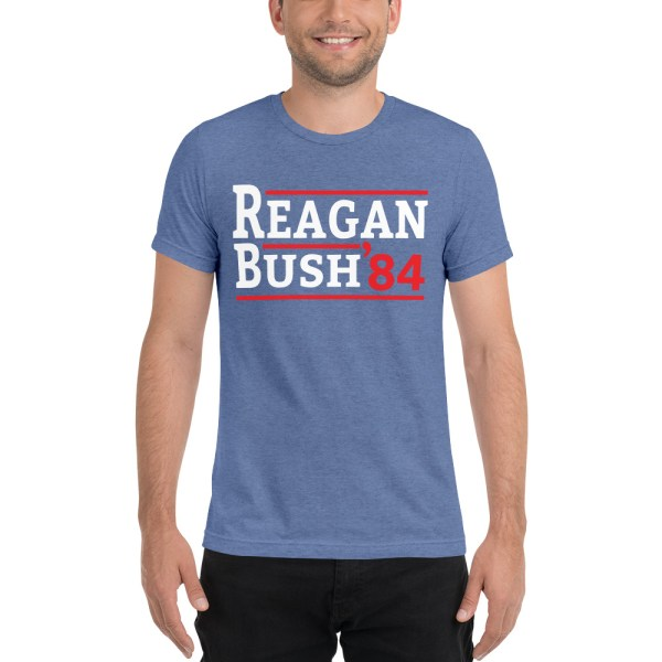Reagan Bush 1984 Election Campaign Retro T-Shirt | Political T Shirts, Gifts, and Gift Ideas for Republicans and conservatives | PoliticalGift.com