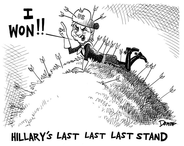 Hillary Clinton last stand in Montana cartoon