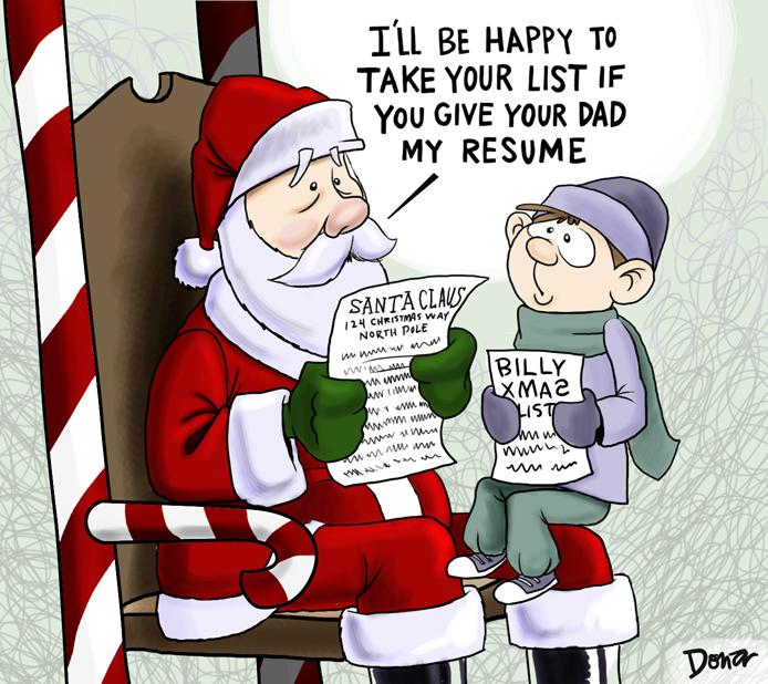 unemployed santa cartoon