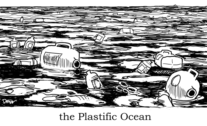 plastic in ocean cartoon