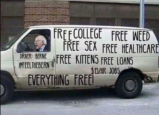 bernie-sanders-driving-van-free-college-healthcare-loans-everything