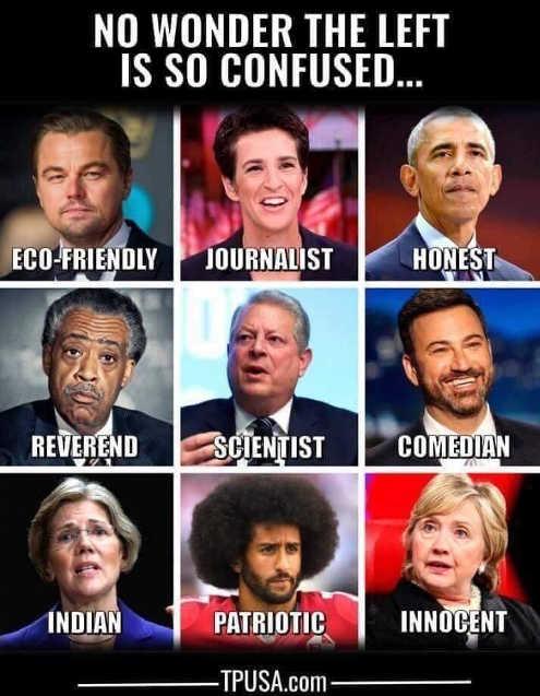 no-wonder-left-so-confused-kaepernick-hillary-rachel-maddow-obama-sharpton-gore-kimmel
