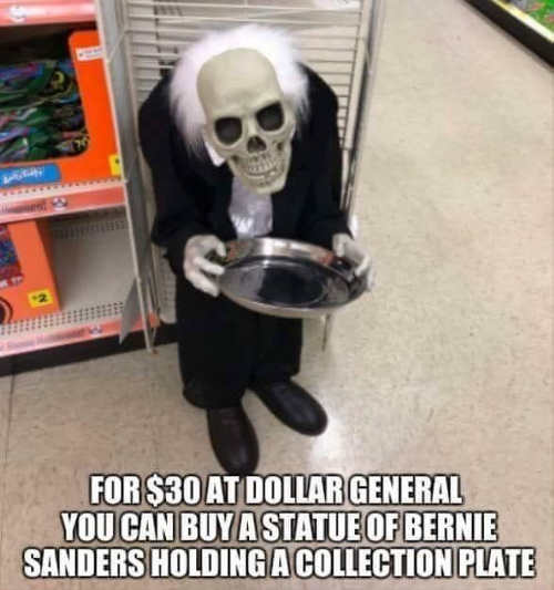 bernie-sanders-for-30-dollars-dollar-general-statue-holding-collection-plate