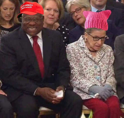 clarence-thomas-ruth-bader-ginsburg-at-kavanaugh-swearing-in-pussy-hat-maga