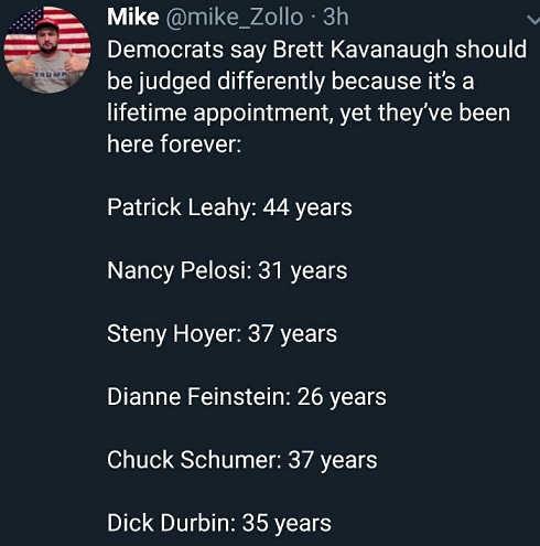 democrats-say-kavaugh-judged-differently-lifetime-appt-leahy-pelosi-hoyer-feinstein-schumer-durbin