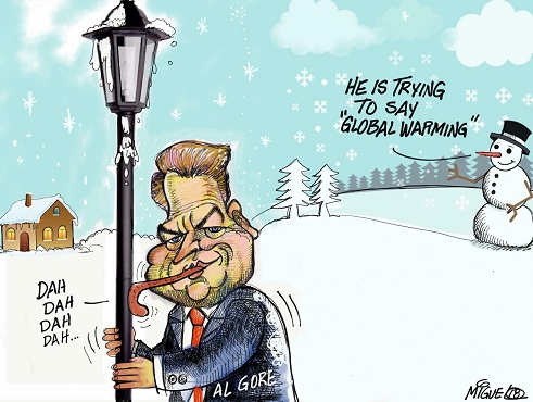 al gore tongue stuck to pole he is trying to say global warming snow