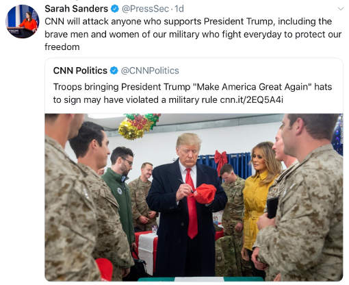 cnn attacks troops for bringing maga hats hatred of trump rules