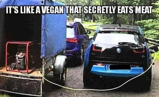 electrical car fueling engine like vegan secretly eats meat