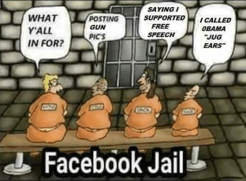 facebook jail what you in for posting guns for free speech said obama big ears