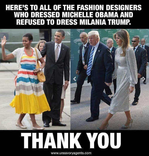 heres to all fashion designers who dressed michelle obama but refused to dress melania trump