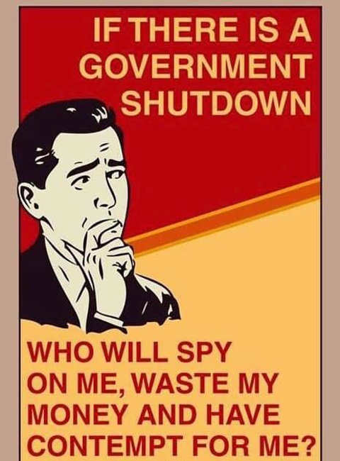 if there is government shutdown who will spy on me waste my money and have contempt for me
