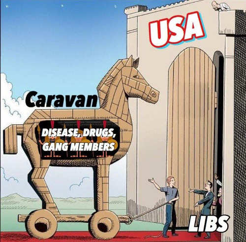 immigrant caravan trojan horse disease drugs gangs liberals let into usa