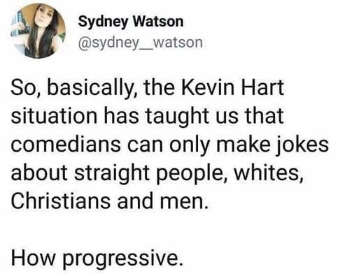kevin hart firing has taught me comedians can only make jokes about white christian men how progressive
