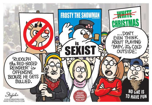 liberal christmas no fun allowed frosty rudolph carols angry protest