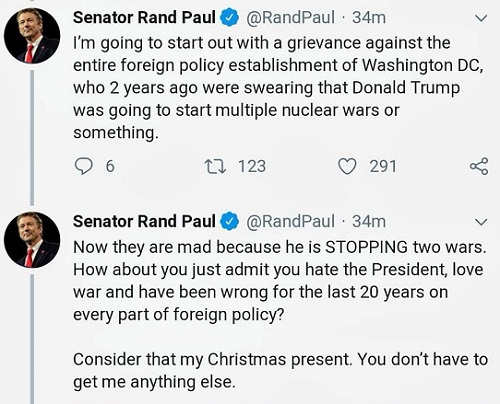 rand paul washington establishment admit you hate trump and have been wrong in foreign policy last 20 years