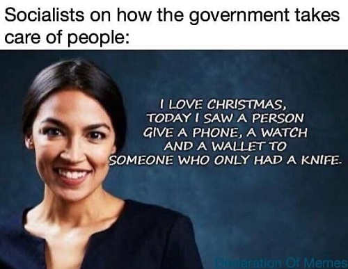 socialists on how government help people today person gave wallet to person who only had knife ocasio cortez