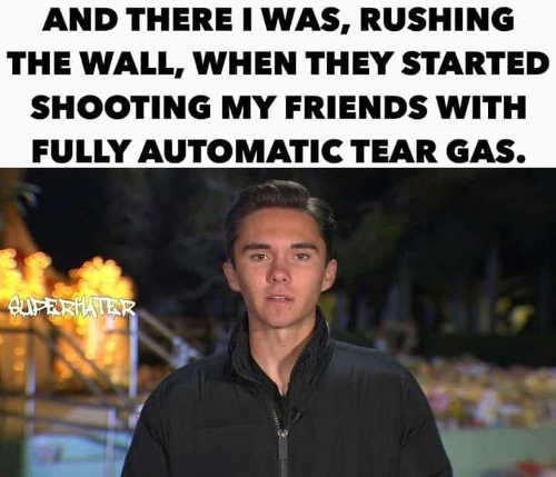 there i was rushing the wall started shooting my friends with fully automatic tear gas david hogg