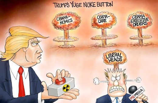 trumps yuge nuke button obamanomics obamacare executive orders liberal heads
