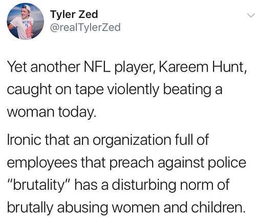 tweet kareem hunt organization preaches against police brutality abuses women and children