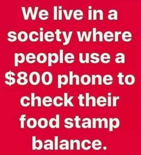 we live in a world where peope use an 800 dollar phone to check food stamp balance