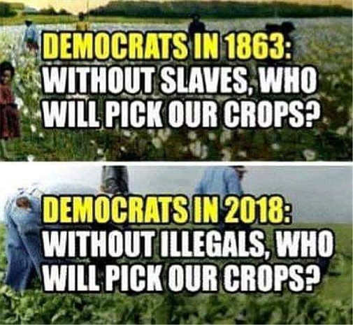 democrats in 1863 slaves pick crops 2018 illegals do it