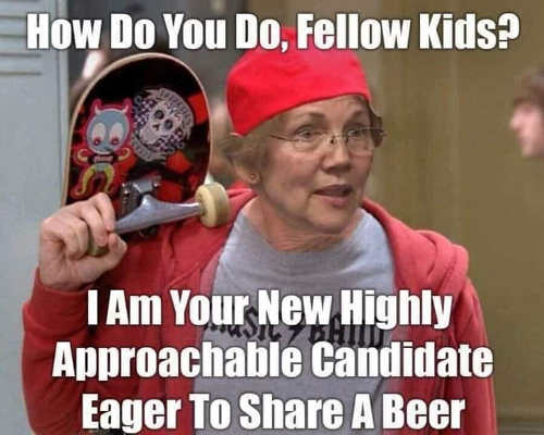elizabeth warren hi kids skate board beer im your new highly approachable candidate