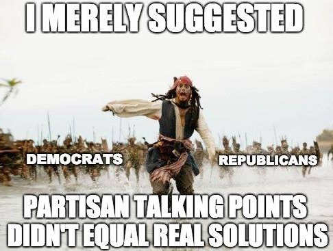jack sparrow chased merely suggest partisan talking points doesnt equal real solutions