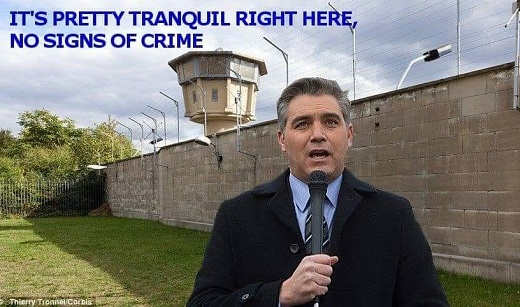 jim acosta no signs of crime by wall
