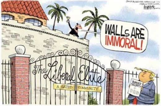 liberal elite walls are immoral sign on wall