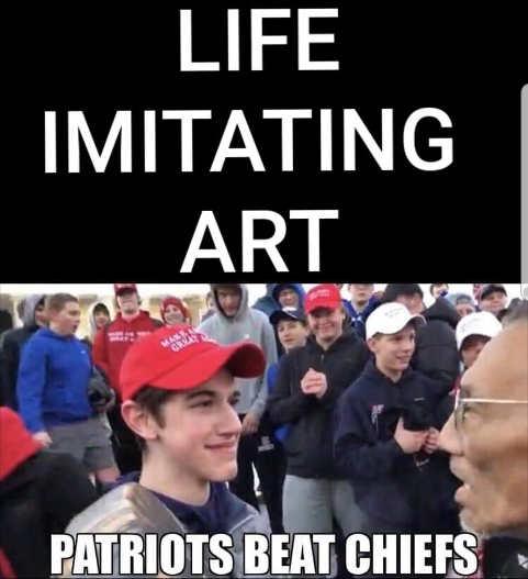 life imitating art patriots beat chiefs