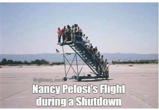 nancy pelosi flight during shutdown stairs no plane