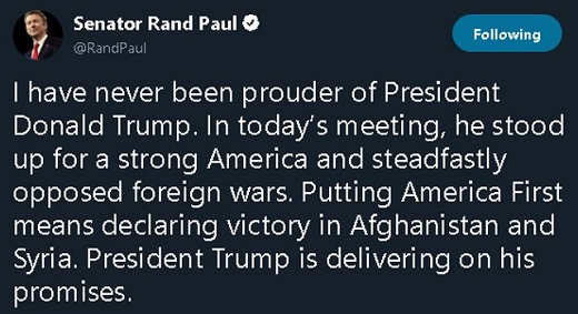rand paul ive never been prouder than president trump then ending two wars focusing on border security