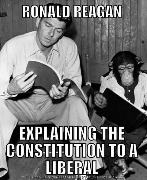 ronald reagan explaining constitution to a liberal bonzo monkey reading