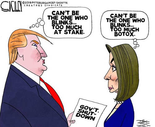 trump cant back down government shutdown nancy pelosi cant blink botox