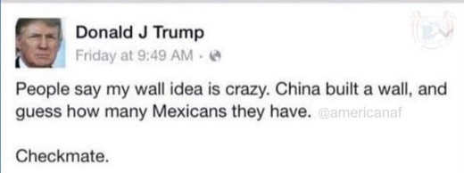 trump tweet people say wall is crazy china built one how many mexicans they have checkmake