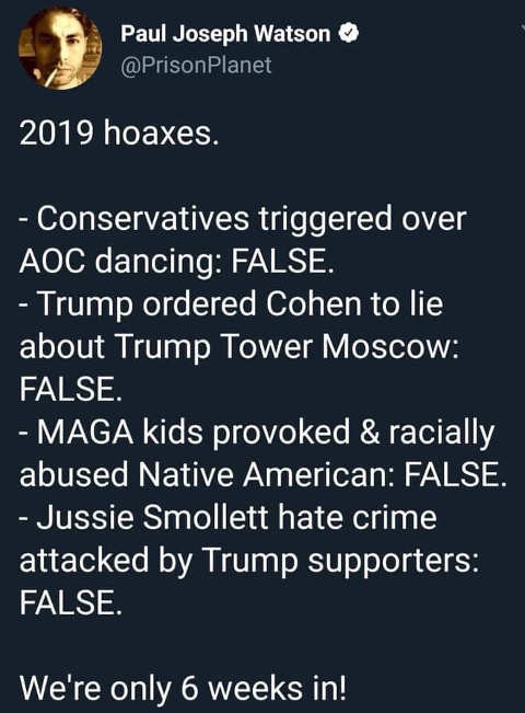 2019 hoaxes tweet aoc dancing cohen maga kids jussie smollett 6 weeks in