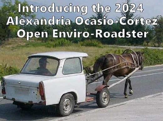 2024 ocasio cortez open enviro roadshter horse pulling car