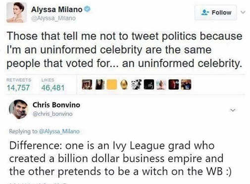 alyssa milano people say dont vote for uninformed celebrity voted for one ivy league grrad vs witch on WB