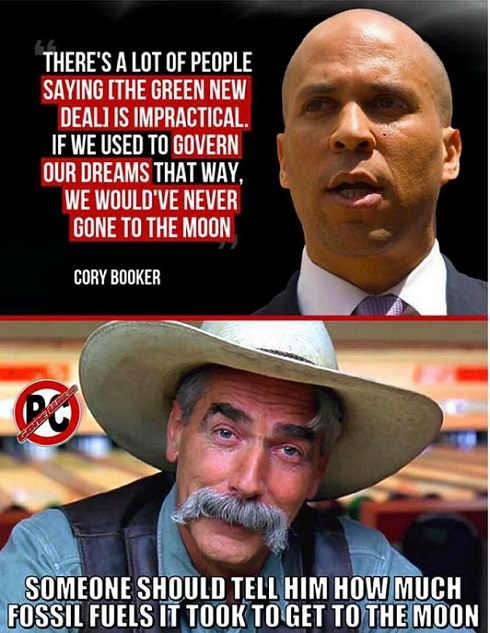 cory booker we went to moon someone tell him how much fossil fuel used