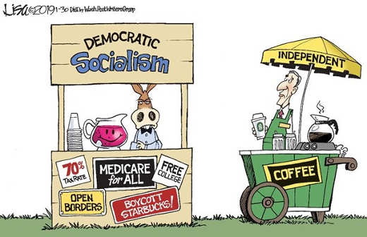 democratic socialism free everything howard schultz coffee stand