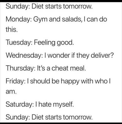 diet weekly log starts tomorrow cheat meal hate myself