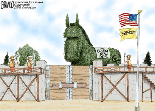 green new deal trojan horse attacking freedom
