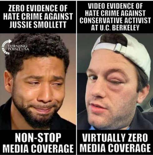 jussie smollett hate crime no evidence nonstop coverage video against conservative zero coverage