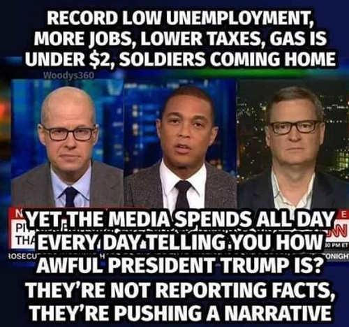 media narrative despite record employment cheap gas low taxes
