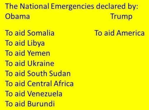 national emergencies declared by obama compared to trump