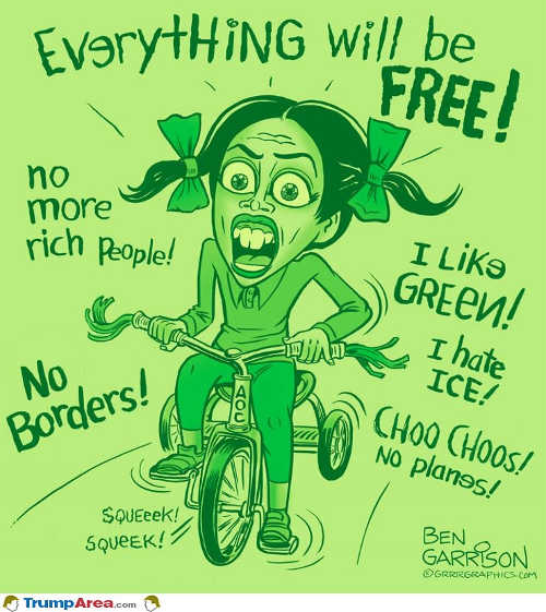 ocasio cortez everything will be free no rich people borders planes i hate ice tryclcle